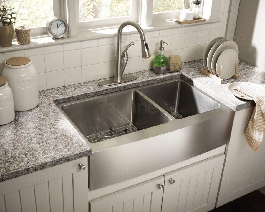Zuhne Farmhouse Deep Double 16 Gauge Stainless Steel Kitchen Sink ...