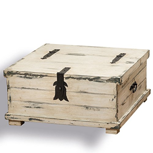 whole house worlds the cape cod steamer trunk coffee table and storage box approx 2ft square rustic creamy white