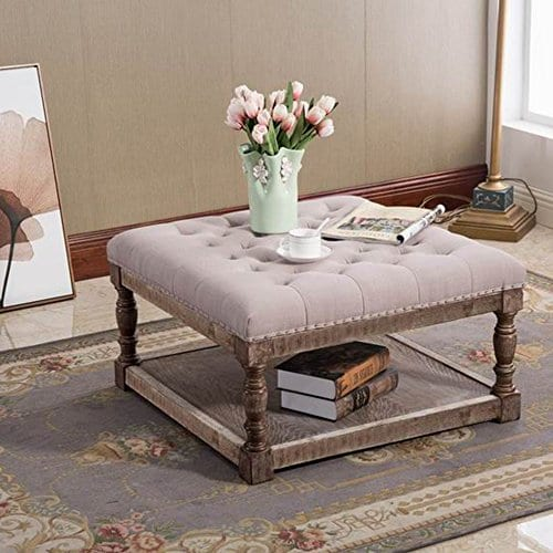 warehouse of tiffany cairona 30 shelved ottoman in light gray tufted fabric