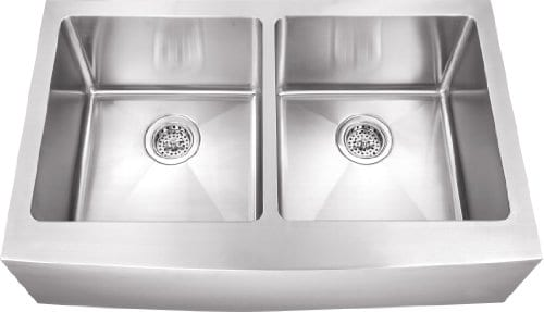 Farmhouse Apron Front 16 Gauge Double Bowl Stainless Steel Sink ...