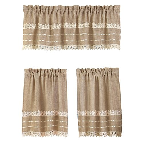 collections etc country style burlap and crochet lace kitchen cafe tier and window valance set brown 30 x 36 tier