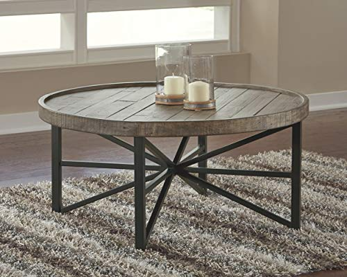 ashley furniture signature design cazentine contemporary rustic round cocktail table distressed top grayish brown