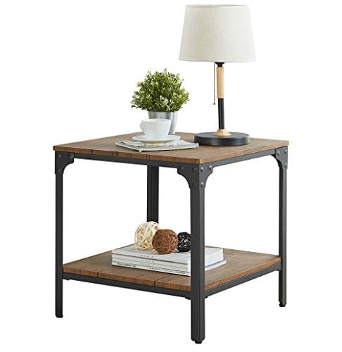 homissue 21 7 height industrial square sofa side table metal frame accent end table with storage shelf for living room