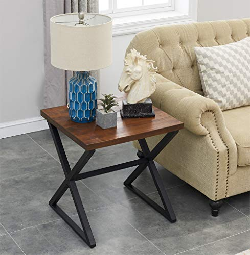 o k furniture farmhouse accent end side table industrial nightstand with x shaped metal frame for bedroom and living