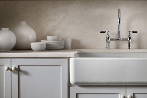 kohler whitehaven farmhouse sink self trimming tall apron front k 6489 0 white