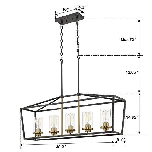 emliviar modern 5 light kitchen island pendant light fixture linear pendant lighting black and gold finish with clear