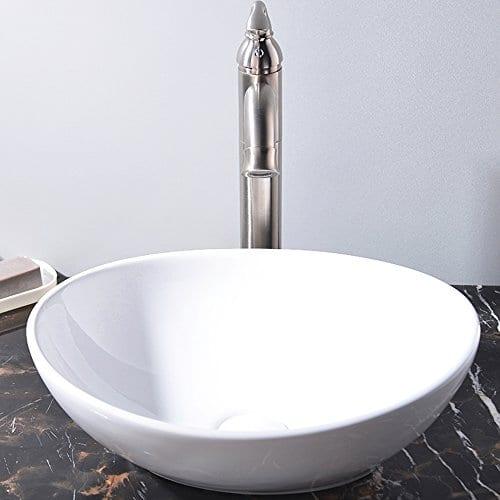 kingo home white oval ceramic vessel sink above counter bathroom porcelain vessel sink