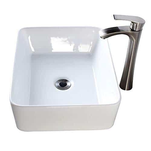 lordear 19 x15 bathroom vessel sink and faucet combo modern rectangle above counter white porcelain ceramic vessel vanity sink art basin brushed