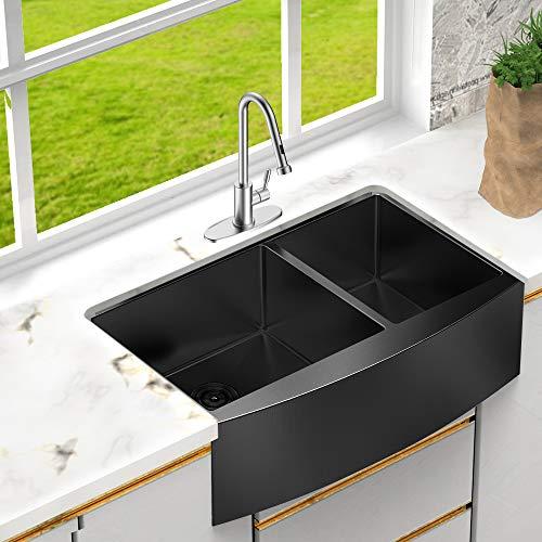 33 farmhouse sink double bowl lordear 33 inch framhouse kitchen sink gunmetal matte black 16 gauge stainless steel