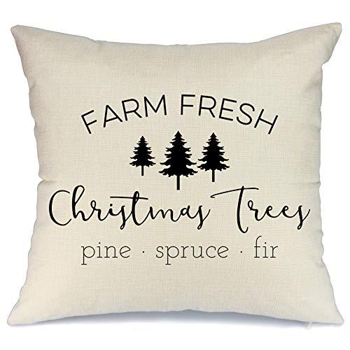 aeney farmhouse christmas pillow cover 18x18 inch farm fresh christmas tree throw pillow for christmas decor farm sign