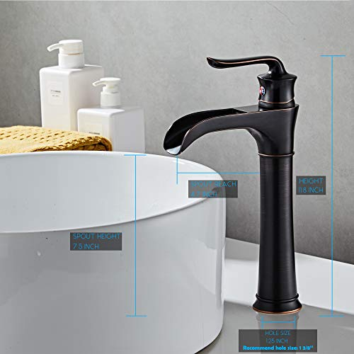 farmhouse waterfall bathroom faucet for vessel sink single hole bowl mixer tap myhb oil rubbed bronze sh8012h