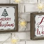Glitzhome Farmhouse Christmas Decorations Set Of 2 Merry Christmas Joy Metal Wall Signs With Distressed Wood Frame 8 X Farmhouse Goals