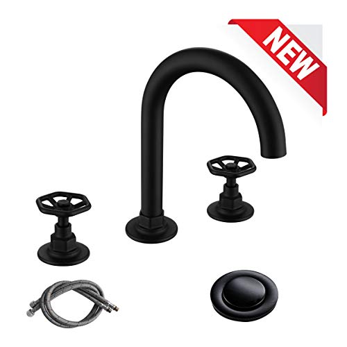 rkf solid brass two handle widespread bathroom sink faucet with pop up drain with overflow and cupc faucet supply hoses