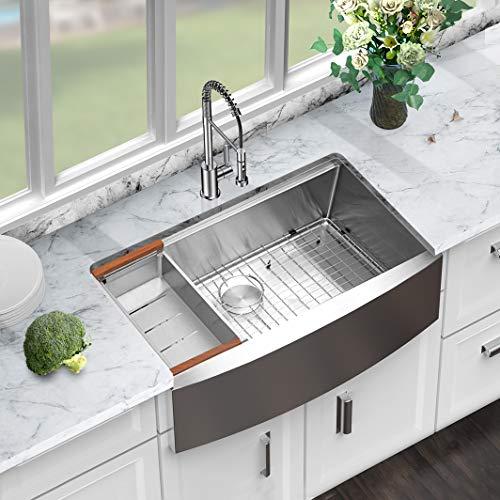 33 farmhouse sink sarlai 33 inch kitchen sink ledge workstation apron front single bowl 16 gauge stainless steel