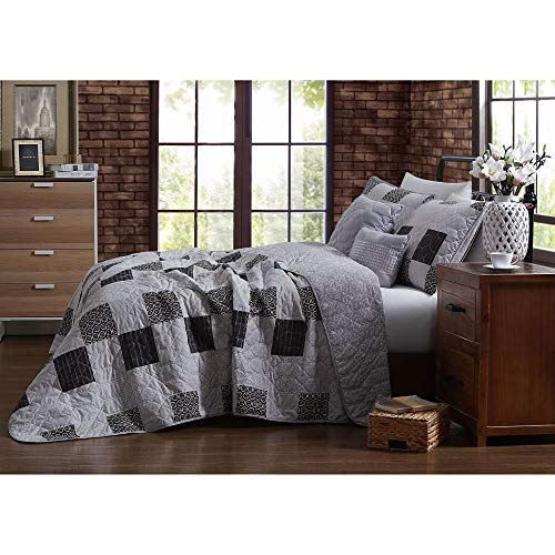 5 piece country style black grey quilt set charming various stripe circle geometric patterned patchwork quilt queen