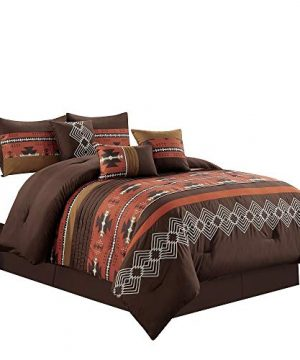 wpm world products mart 7 piece western southwestern native american design comforter set multicolor coffee brown