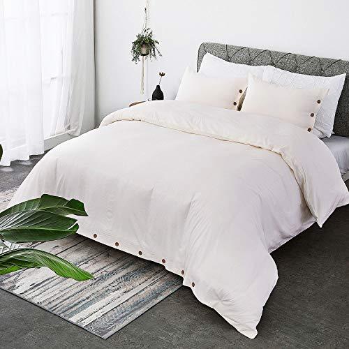 bedsure 100 washed cotton duvet cover sets king size cream bedding set 3 pieces 1 duvet cover 2 pillow shams