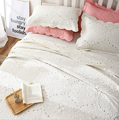 brandream romantic cream white bedding quilt set queen king size embroidery vintage bedspread coverlet set