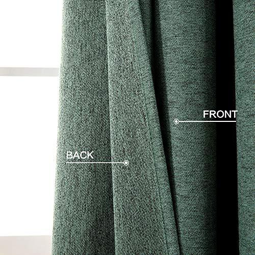 miulee thermal green linen curtain for living room bedroom home darkening farmhouse grommet textured window drape light