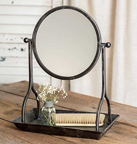 ctw country rustic theme home decor bathroom vanity tray with round mirror