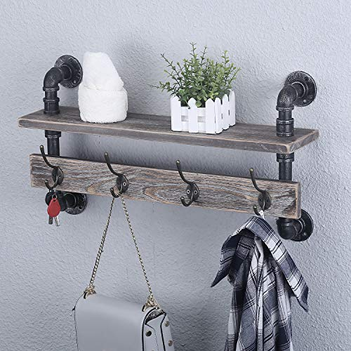mbqq industrial pipe wall coat rack entryway wall shelf hanging shelf real wooden shelves and 4 metal hooks rustic coat
