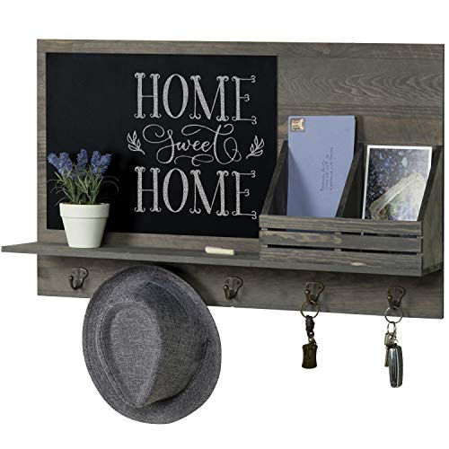 mygift rustic grey wood wall mounted mail sorter rack with 5 key hooks and black chalkboard