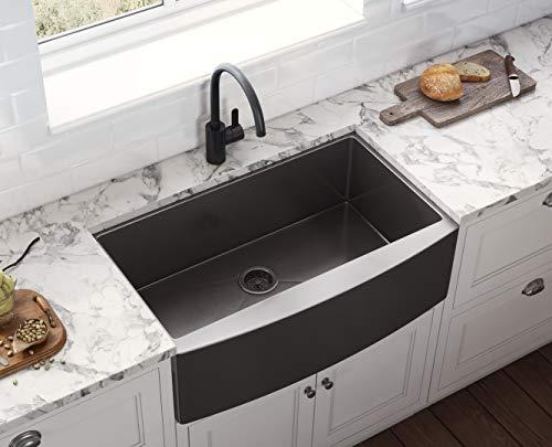 ruvati gunmetal black matte stainless steel 36 inch apron front farmhouse kitchen sink single bowl rvh9880bl