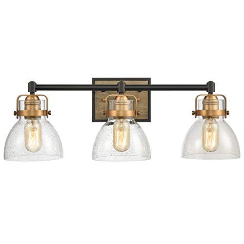 wildsoul 40063bk farmhouse 3 light bathroom vanity light fixtures rustic wood transitional bath mirror lighting wall