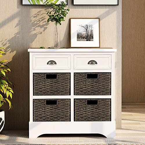harper bright designs rustic storage cabinet with two drawers and four classic fabric basket for kitchen dining room
