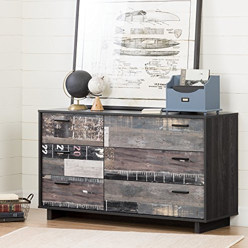 south shore fynn 6 drawer double dresser gray oak and factory planks effect