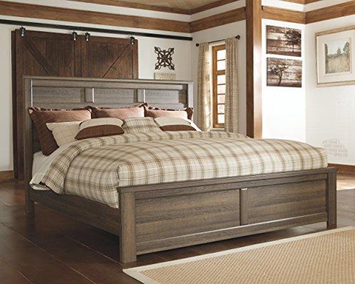 ashley furniture signature design juararo vintage casual panel bedset king size bed dark brown