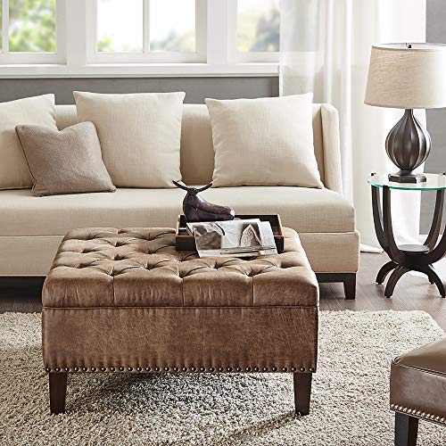 madison park square tufted large faux leather all foam wood frame brown cocktail ottoman modern design coffee table