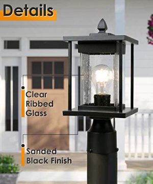 osimir outdoor post light modern farmhouse exterior post lantern with pier mount base 16 h patio post lights fixture black finish with seeded glass