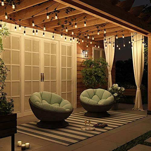sunthin 2 pack 48ft led outdoor string lights with 0 9w shatterproof bulb for patio string lights backyard lights porch