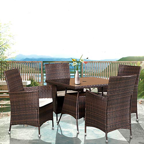 crownland 5 pieces patio square dining table set all weather brown wicker patio dining set includes 4 chairs with cushion and 1 square table with