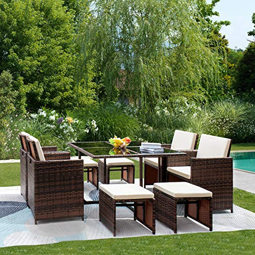 gunji 9 pieces patio dining sets outdoor table and chairs patio dining table set with space saving rattan chairs patio furniture sets cushioned