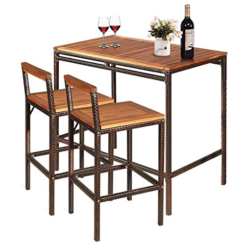 tangkula 3 pcs patio bar table set outdoor rattan bar set bistro set with acacia wood top wood table set with 2 bar chairs for dining room
