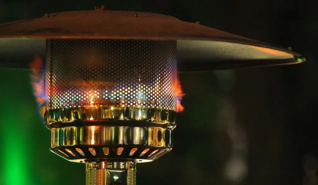 patio heater on a covered porch