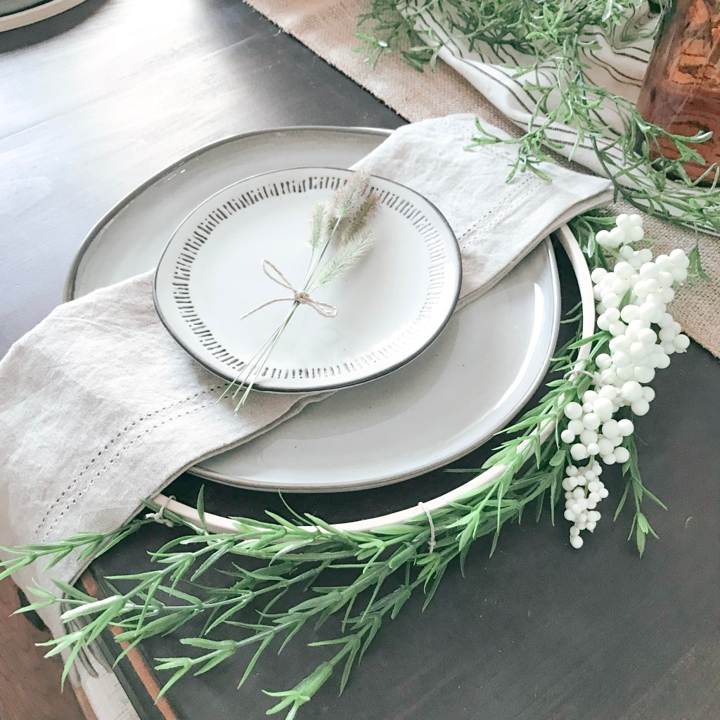 Farmhouseish - Fall Table Setting With Hoop Wreath Charger