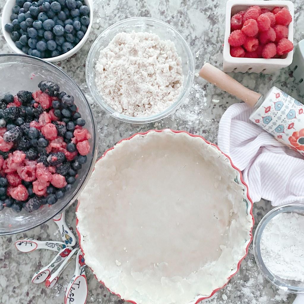 Farmhouseish - Triple Berry Pie Flatlay Gluten-Free Pie Crust