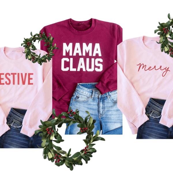 Festive Pink Lily Sweatshirts