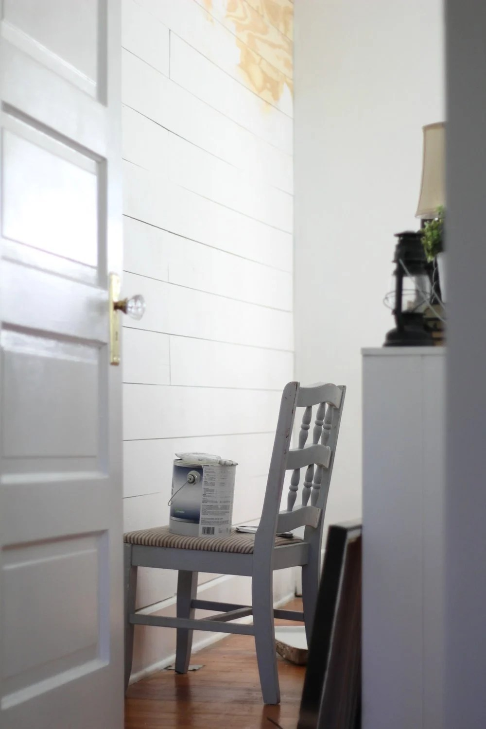 cheap and easy diy shiplap wall farmhouse on boone. Black Bedroom Furniture Sets. Home Design Ideas