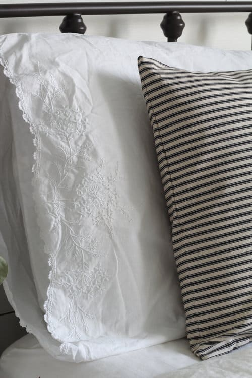 Ticking Stripe Pillow Cover Available In Blue Tan And