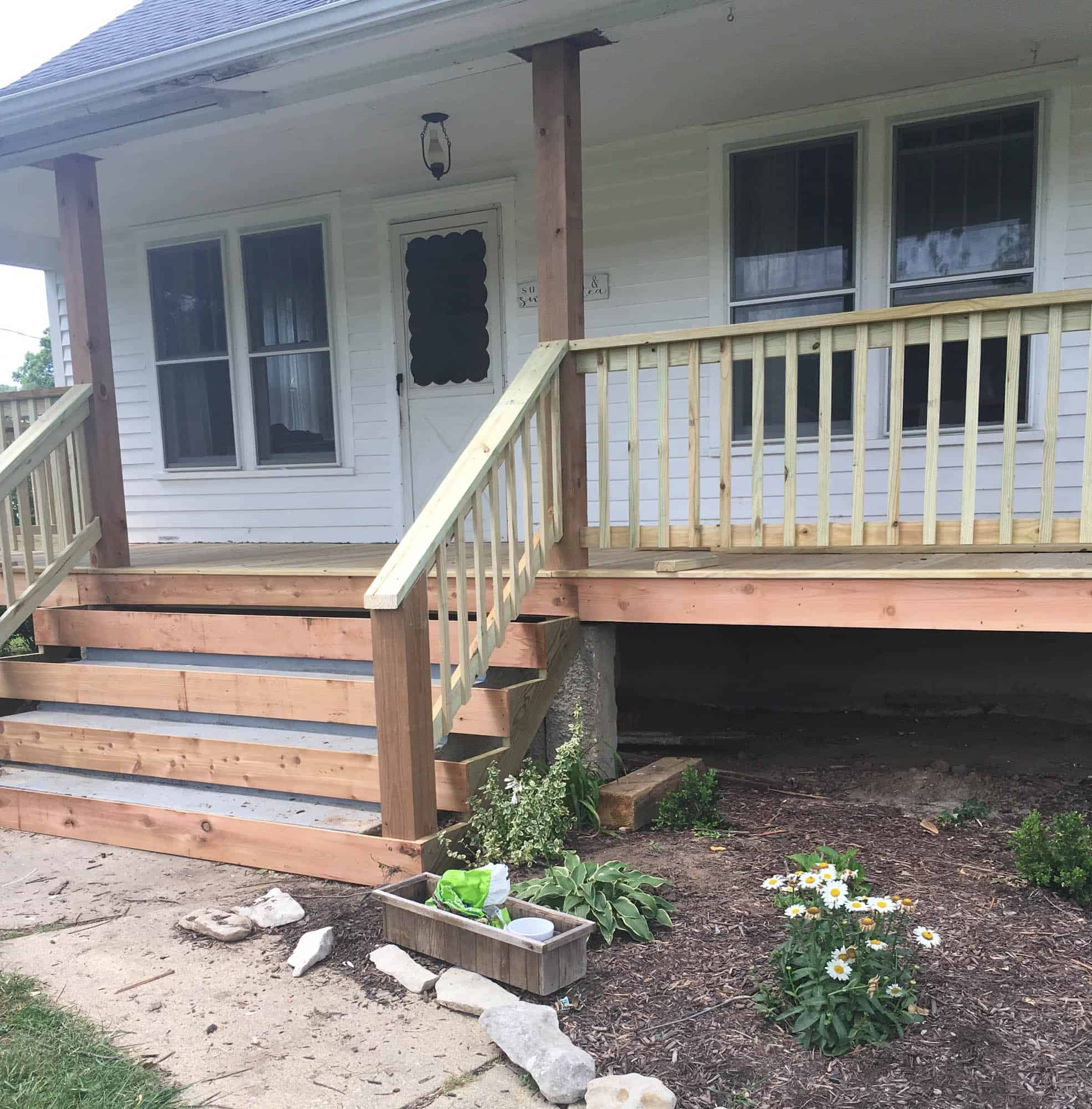How To Cover Concrete Steps With Wood Farmhouse On Boone | Railing For Concrete Porch | Residential | Paver Patio | Hand | Flagstone Porch | Repair