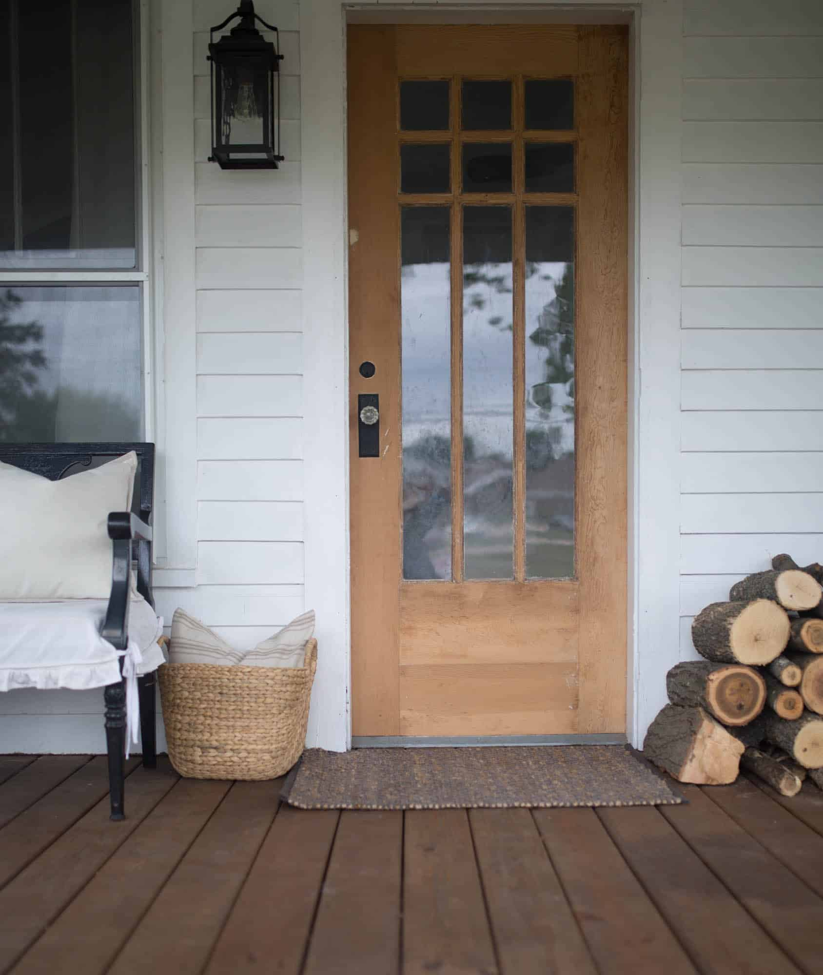 Fall Farmhouse Front Porch Natural Wood Door and Wicker Baskets