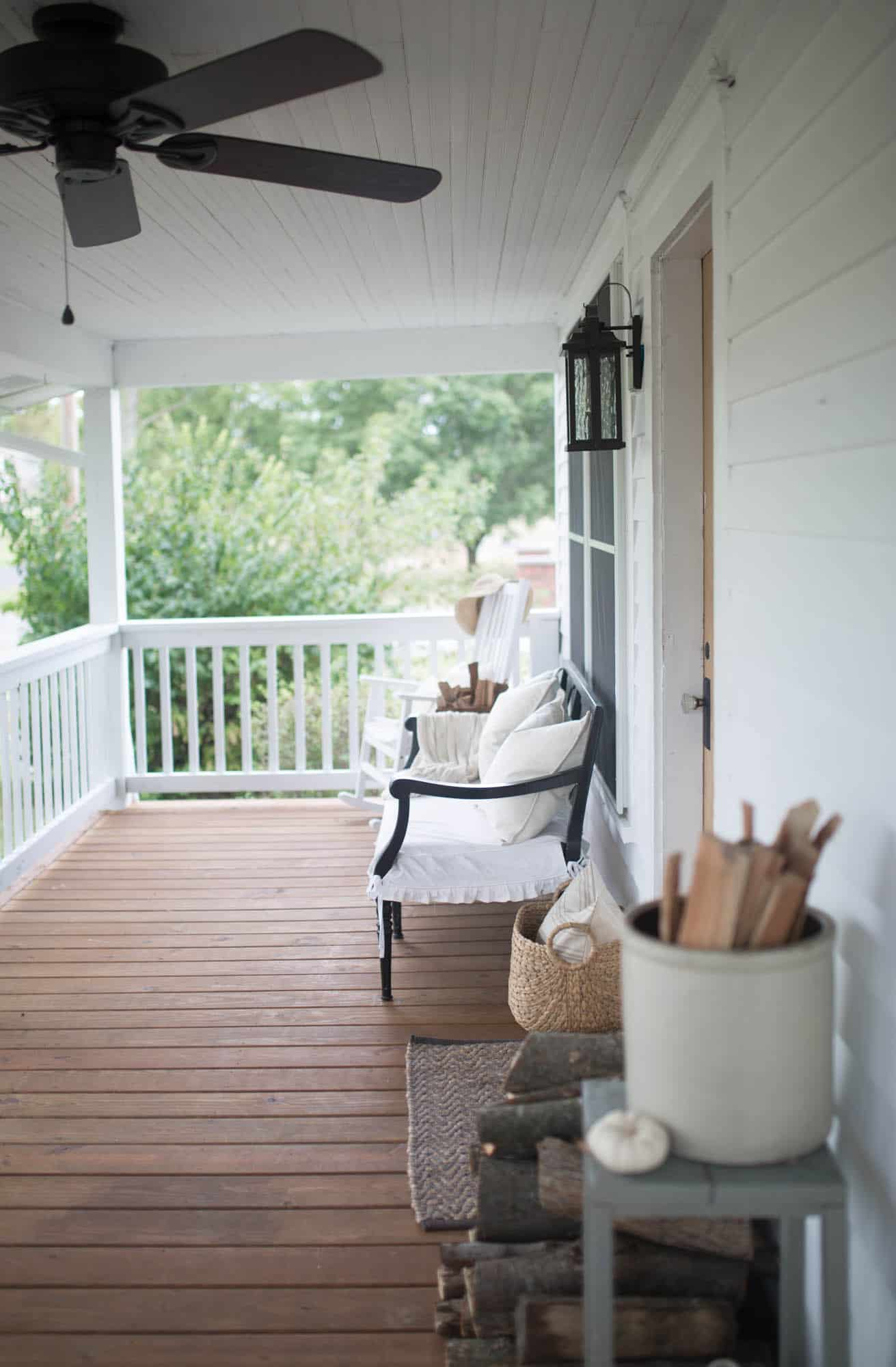 Fall Farmhouse Front Porch Decorating with Farmhouse on Boone