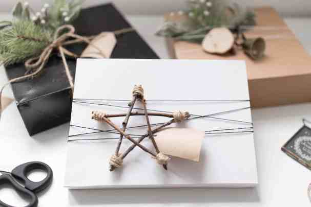 Neutral Minimal Gift Wrap with Natural Elements