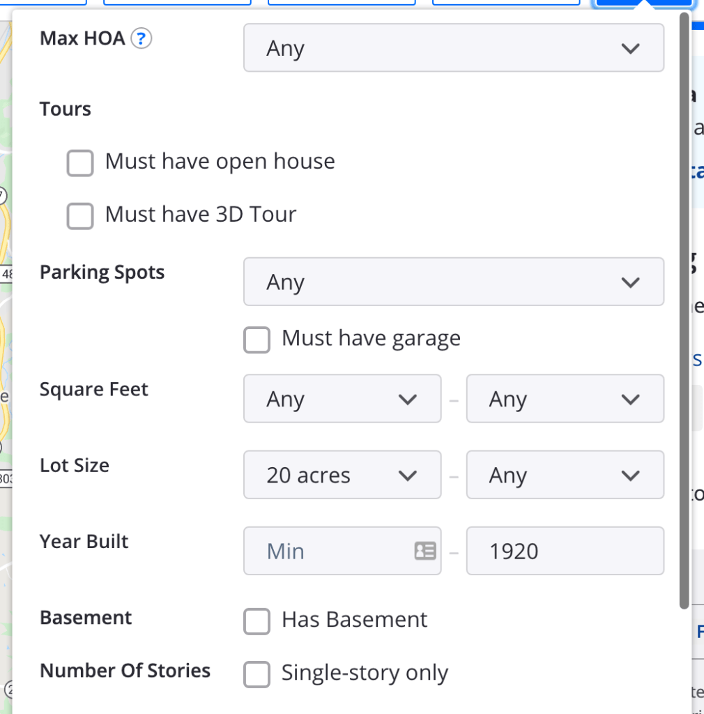 settings for finding a house in the real estate site zillow