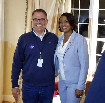Farmington Democratic Town Council Chair candidate Bruce Charette with Jahana Hayes