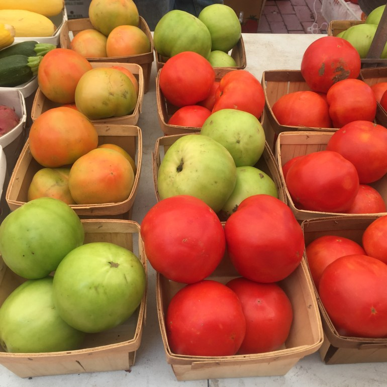 Holl colorful tomatoes